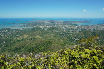 Viewpoint to the coastal city of Noumea from the peak Malaoui, New Caledonia, south Pacific