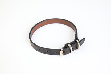 Leather black dog collar