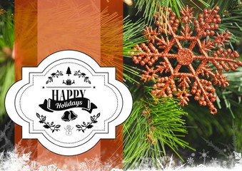 Digitally composite image of happy holidays message against chri