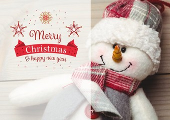 Composite image of merry christmas and happy new year wishes wit