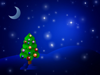 Shiny christmas tree in a dark night with moon and stars on the sky
