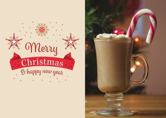 Composite image of merry christmas and happy new year wishes