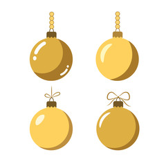 Christmas tree ball icons set. Gold baubles decoration, isolated on white background. Symbol of Happy New Year, Xmas holiday celebration, winter. Flat design for card. Vector illustration