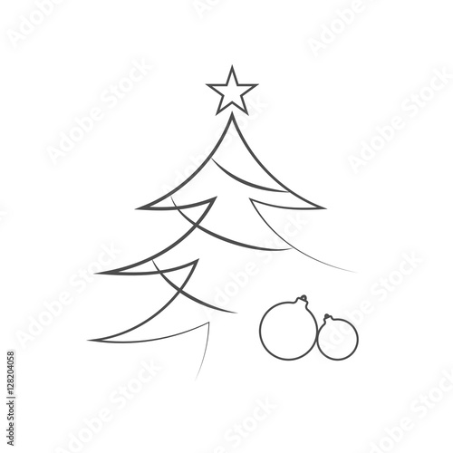 Christmas Tree With Balls Star Cartoon Icon Black Silhouette
