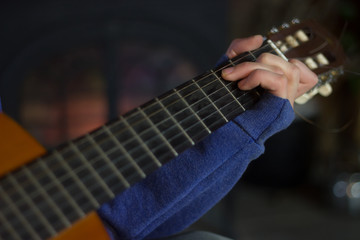 Boy Playing Guitar C Chord