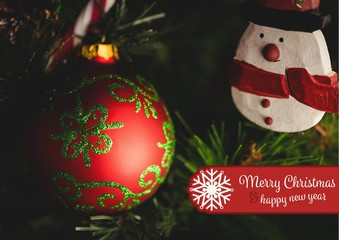 Composite image of merry christmas and happy new year wishes aga