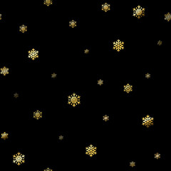 Christmas snowflake seamless pattern. Gold snow black background. Golden abstract wallpaper, wrapping texture. Symbol winter, Merry Xmas holiday, Happy New Year celebration. Vector illustration