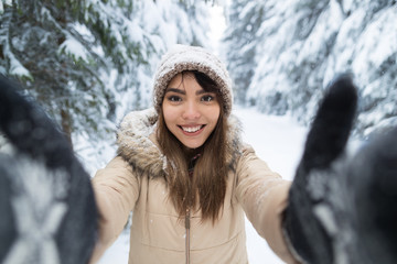 Young Asian Beautiful Woman Smile Camera Taking Selfie Photo In Winter Snow Forest Girl Outdoors Walking White Park