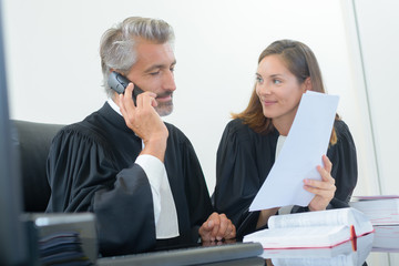 Legal worker using telephone