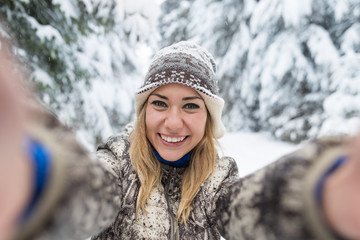 Young Beautiful Woman Smile Camera Taking Selfie Photo In Winter Snow Forest Girl Outdoors Walking White Park