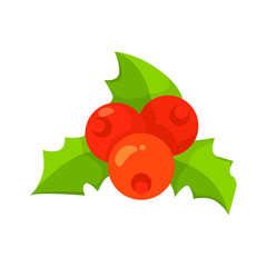 Vector of European Holly leaves and fruit isolated on white. Cartoon style. Cute funny christmas icon. EPS 10 Vector illustration.
