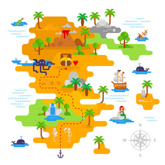 Pirate treasure map vector flat design with pirate's icons, vector stock illustration