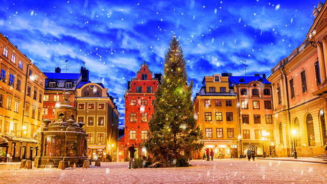Stortorget square decorated to Christmas time at night, Stockhol