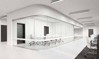 Side view of office with rounded corners conference room