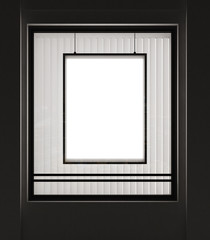Shop window with a framed vertical poster on a black wall