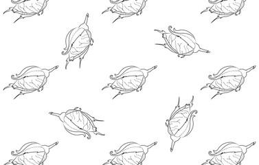 Rosebuds. Seamless background pattern. Hand drawn.
