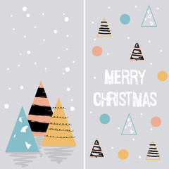 Christmas Card. Geometrical elements. Styled trees with colorful dots. Vector