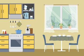 Kitchen in beige color. There is a yellow furniture, a stove, a meat grinder, a table, two blue chairs and other objects in the picture. Vector flat illustration