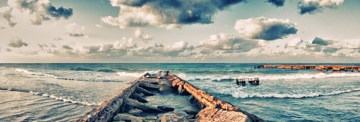 Panoramic view of abandoned pier in Guanabo beach, Havana, Cuba