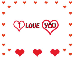Hearts and text i love you