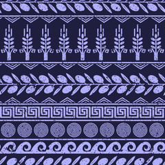 Seamless pattern with olives, wheat, and greek symbols.
