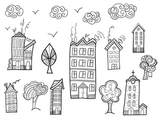 Town collection in doodle style.