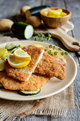 Turkey schnitzel with potato and zucchini