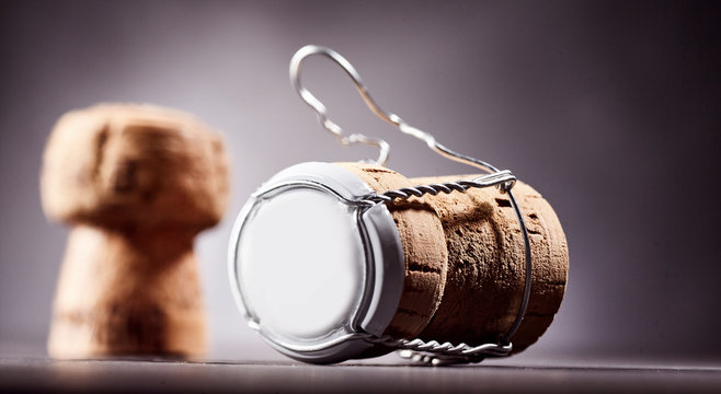 Cork and metal bottle cap with copy space