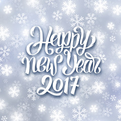 Happy New Year lettering on festive winter background with snowflakes. Vector greeting card design template with typography