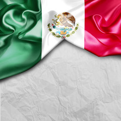 Mexico Country Flag on paper background. 3d illustration  Mexico