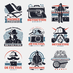 Vintage Detective Labels Set