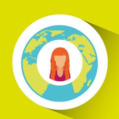 girl social media world map vector illustration eps 10