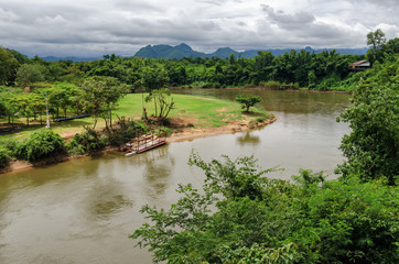 Thailand scenic view on River Kwai and landscape