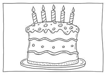 Ausmalbild Geburtstagstorte
