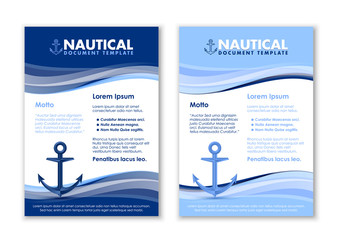 Nautical document templates with ship anchor icon on white background