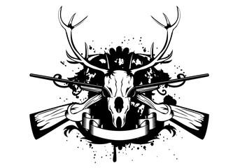 skull artiodactyl and crossed guns