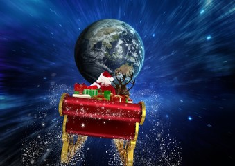 Santa claus riding reindeer sleigh towards globe