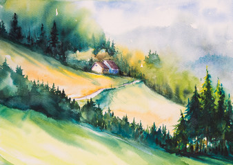 Watercolor illustration of a summer landscape-cottage house on a hill .