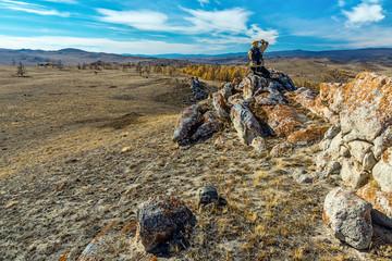 Tazhenranskaya steppe on the west coast of Lake Baikal
