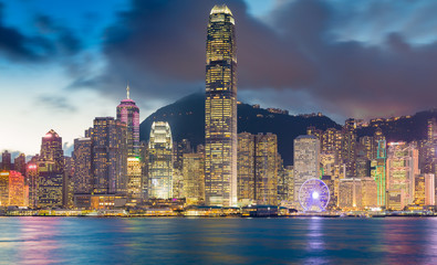 Night lights over Hong Kong central business area water front, night view