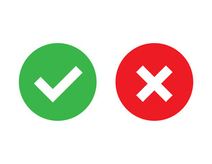 Check mark and X mark icon vector