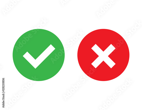 """""""Check mark and X mark icon vector"""" Stock image and ... X And Check Icon"""