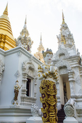 angel statue with Pagoda in Wat Sri Don Moon , Chiangmai Thailan
