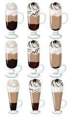 Set of layered coffee with whipped cream in a glass of Irish