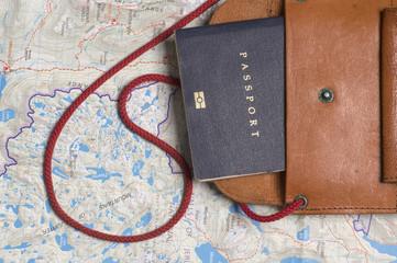 Close up of an Australian passport with map