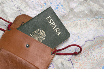 Close up of Spanish Passport with map