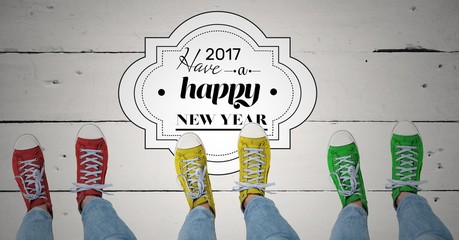 2017 new year wishes with teenagers wearing colourful sneakers