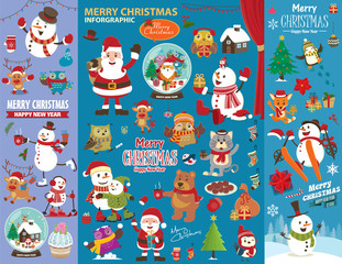 Vintage Christmas poster design with Christmas characters.