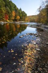 Colorful fall foliage along the Farmington River in Canton, Connecticut.