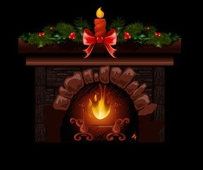 Christmas fireplace vector illustration with fir tree decoration.